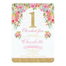 floral 1st birthday invitations u0026 announcements zazzle