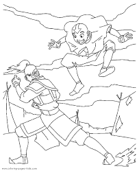 avatar airbender color coloring pages kids