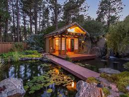 asian landscape yard with fence pond bali tea house gazebos
