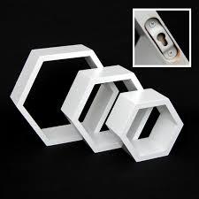 Deko Ideen Hexagon Wabenmuster Modern 3er Set Sechseck Lounge Regal Design Wabe Retro 70er Wandregal