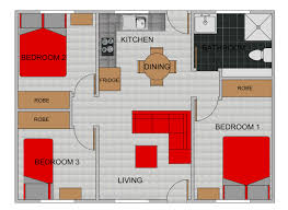 three bedroom flat plan home design ideas