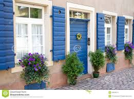 flowers and plants decorating house exterior stock images image