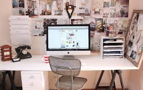 office lovely white simple home office design with white long