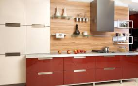 brown glossy counter with white top added by glass wall shelves on