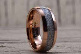 hudson wedding band 8mm gold tungsten carbide ring meteorite inlay wedding band