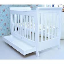 Sleigh Cot Bed Sleigh Baby Cot Bed W Toddler Rail White Buy Cots