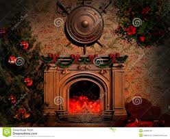 shield and swords over the fireplace stock illustration image