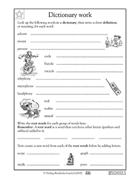 3rd grade reading writing worksheets using a dictionary root