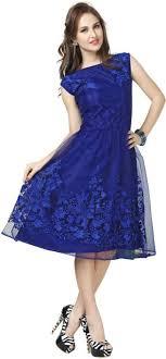 blue dress elevate women women fit and flare blue dress buy blue elevate
