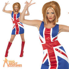 Spice Girls Halloween Costumes Ginger Spice Girls 90s Union Jack Dress Ladies Womens Fancy Dress