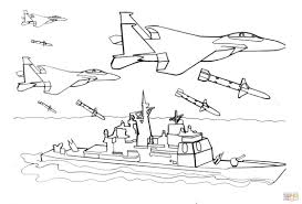 warship is attacked by fighter aircrafts coloring page free