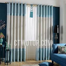 White And Blue Curtains Room Darkening Blue And White Linen Curtains
