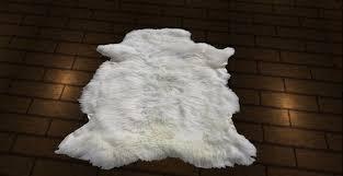 second life marketplace white animal fur designer carpet rug 1