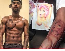 nicki minaj u0027s boyfriend covers up two of the three tattoos he had