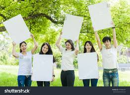 Big White Boards Young People Holding Big White Board Stock Photo 474109357