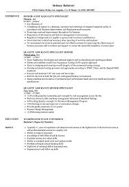 quality assurance resume exles quality specialist senior resume sles velvet