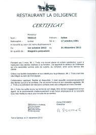 ecole de cuisine geneve certificat de stage la diligence