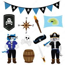 birthday illustration with cat pirate theme and pirate ornaments