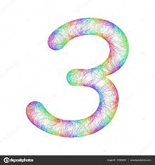 rainbow sketch font design number 3 u2014 stock vector davidzydd