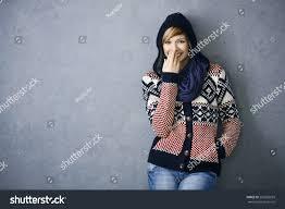 portrait happy young woman scandinavian sweater stock photo