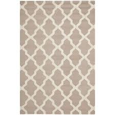 area wool rugs rectangle brown cream wavy parallelogram trellis