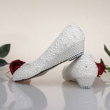 Wedding Shoes For Bride Comfortable Bridesmaid Shoes White Ivory Pearl Wedding Shoes Fashion Low Wedge