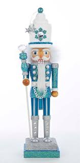 17 turquoise and white snow soldier decorative wooden