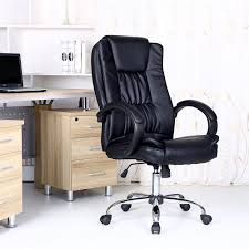 Executive Office Desk Furniture Santana Black High Back Executive Office Chair Leather Swivel