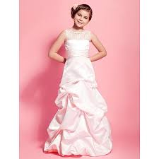 floor length satin lace junior bridesmaid dress pearl pink a