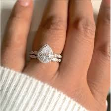 teardrop engagement rings pear cut cubic zirconia ring bridal set