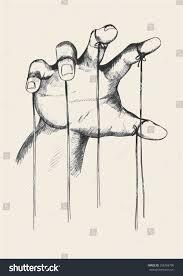 sketch illustration puppet master hand stock vector 256704700