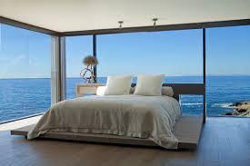 bedroom glass walls ocean views beach house in laguna beach