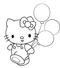 cute kitty u0026 ballons colouring picolour