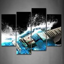 Guitar Home Decor Guitar In Blue And Waves Wall Art Picture Print Canvas Music Photo