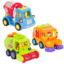 set of 3 push and go friction powered car toys street sweeper