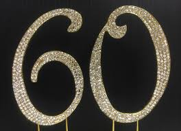 gold rhinestone number 60 cake topper 60th birthday