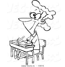 Picture Of Student Sitting At Desk Vector Of A Happy Female Cartoon Student Sitting At Her Desk