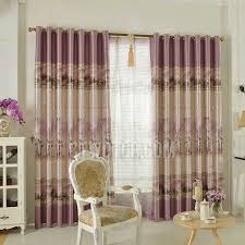 Thick Purple Curtains Bamboo Pattern In Gold Color Thick Purple Polyester Pastoral