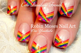 cute rainbow nails easy chevron french tip nail art design youtube