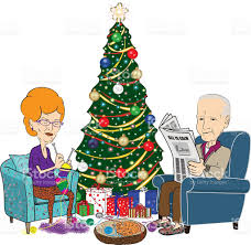 what to get an elderly woman for christmas elderly and woman in front of christmas tree stock vector