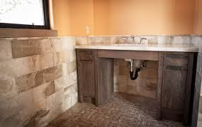 rustic bathroom design and decoration using light brown stone tile
