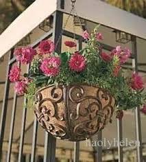 2018 round rustic cast iron hanging flower basket flower pot