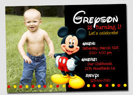 Birthday Invitation Cards Mickey Mouse Photo Birthday Invitations Kawaiitheo Com