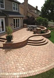 Creative Brick Patio Design With Pergola Tub Seat Walls And by 525 Sq Ft Of Colorful Pavers And Tumbled Patio Block Together