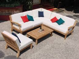 Teak Sectional Patio Furniture by 5 Pc Teakwood Teak Wood Indoor Outdoor Patio Sectional Sofa Set