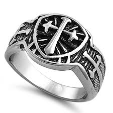 cross rings images Stainless steel shield triple cross ring