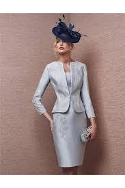 column scoop neck short silver satin applique evening dress with
