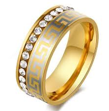 large mens rings images Wholesale luxury large wide 8mm 316 titanium steel 18k yellow gold jpg
