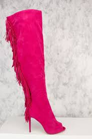 s boots with fringe pink side fringe knee high peep toe ami clubwear boots suede