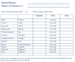 hotel laundry list template